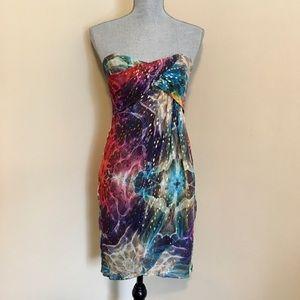 Nicole Miller Strapless Silk Dress
